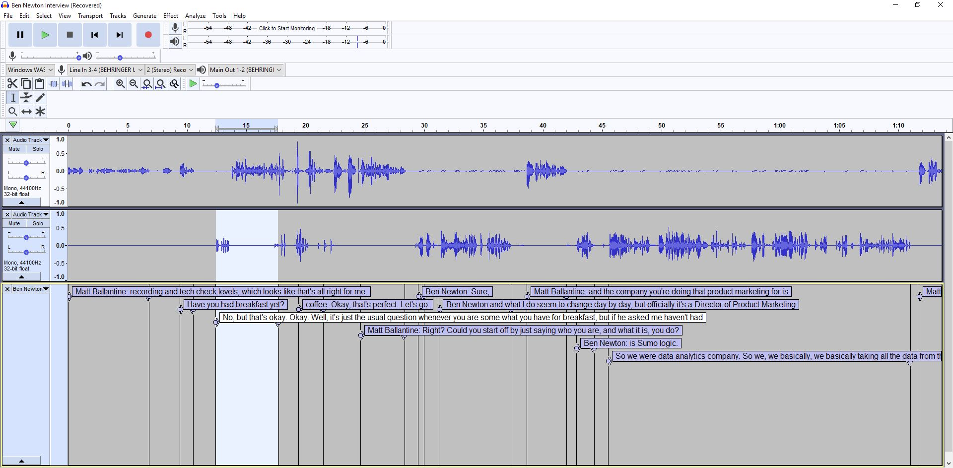 Apply transcripts to audio in Audacity – mmitII
